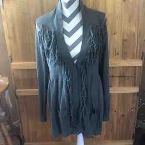 STETSON Gray Fringe Wool Blend Cardigan Stunning